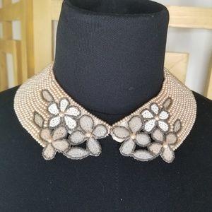 Vintage Beaded Faux Pearl Floral Collar Japan